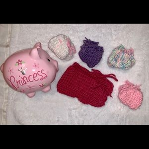 Homemade Knitted Booties Pink Red Purple Baby
